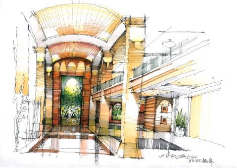 酒店大堂 客房 手绘