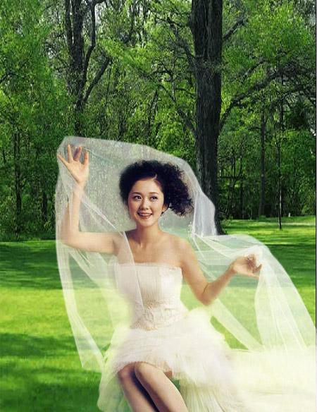 PS图层模式加蒙版抠婚纱