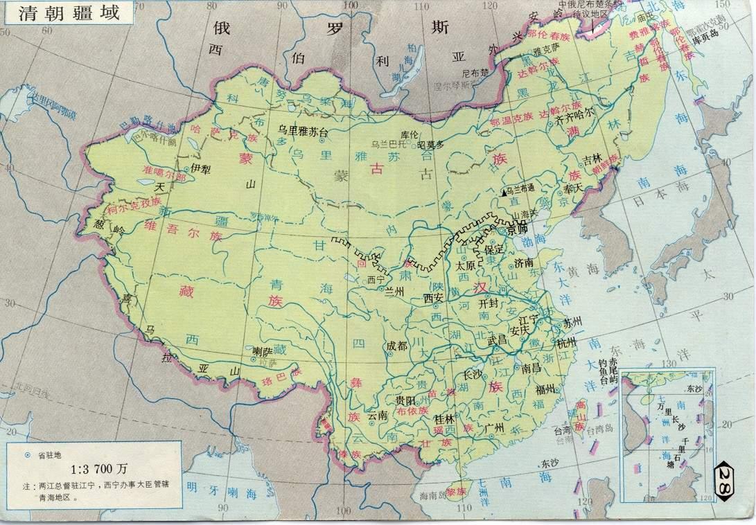 清朝的疆域地图和现在的中国地