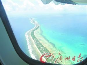 空中俯瞰图瓦卢,整个国土就是狭长的一条。