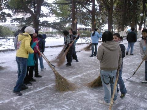 校园义务扫雪活动图片