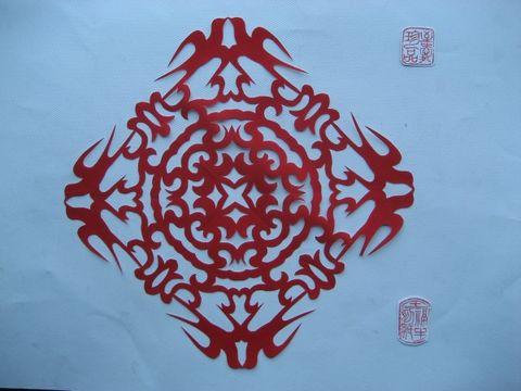 五折团花剪纸图解
