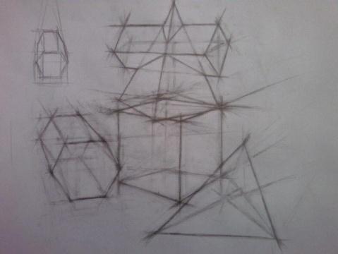 画的是最基础的立体几何体透视