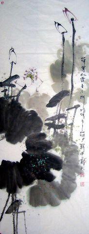 【原创】荷叶如云香不断 - 关中醉人 - 徐保林花鸟画