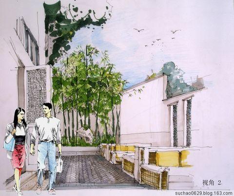 静悄悄的花园马克笔手绘  - yudi.cd - yudi.cd的博客