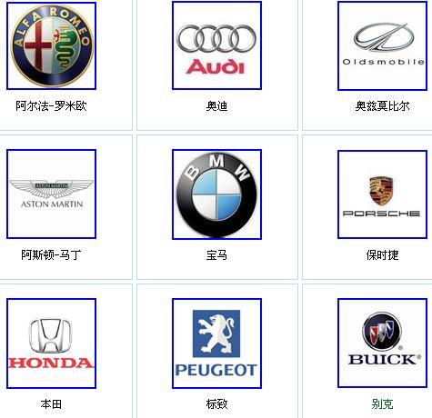 汽车标志大全高清图片