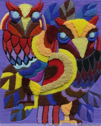 学生手工作品——刺绣壁挂图片