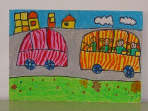 汤乐琪 蜡笔画 《汽车》   吴汶卓 水粉画《堆雪人》   朱
