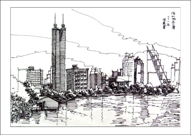 郑州地标性建筑手绘