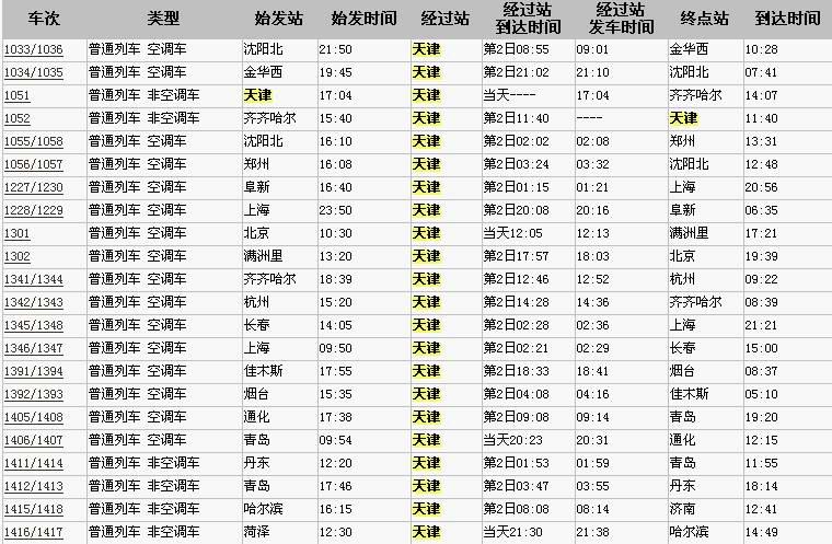 全国列车时刻价格表_火车时刻表票价查询