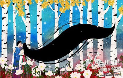 朝鲜族特色长发美女插画 - 冰思绕指柔 - 冰思绕指柔的博客