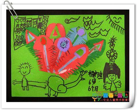 童画童心08秋季启蒙B2班美术活动13——花孔雀 - 童画-童心儿童美术 - 童画-童心儿童美术