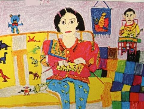 儿子7岁的画 - 红色郁金香 - 我的博客