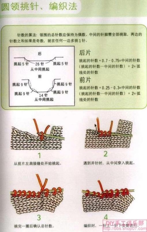 V形领和圆形领的织法 - 红阳聚宝 - 红阳聚宝的博客