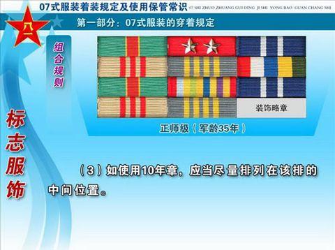 详解07式军服标志服饰及级别资历章图片