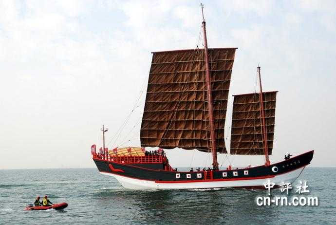 台湾仿古传统木帆船出海测计划远航金厦、日本