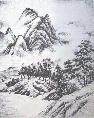 春山欲雨 钢笔画国画