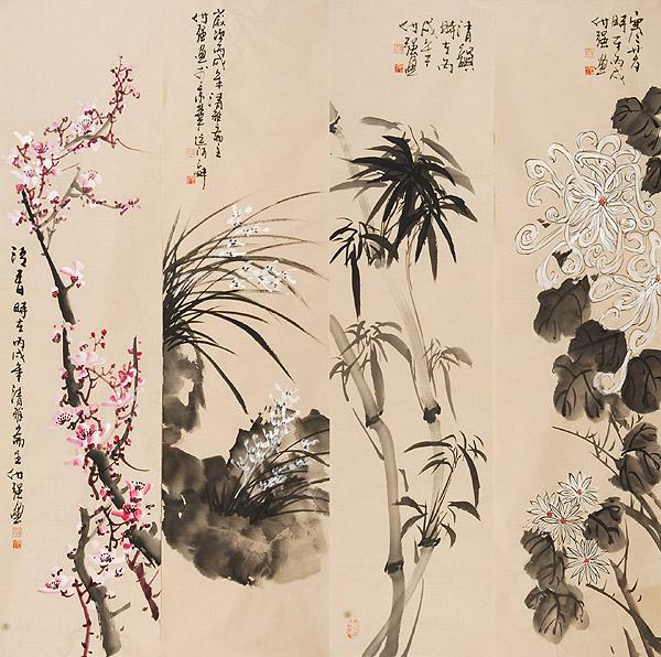 兰、竹、梅、菊四君子 - xiaolin - 峨山人