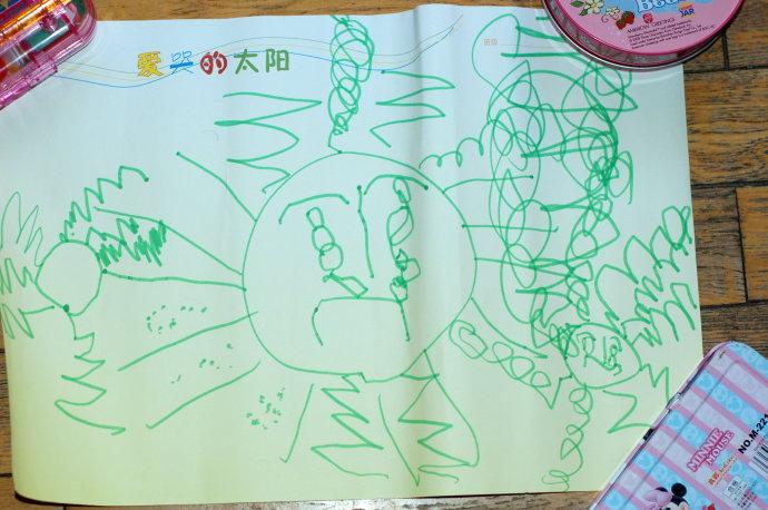 中班小朋友的手工作业和绘画