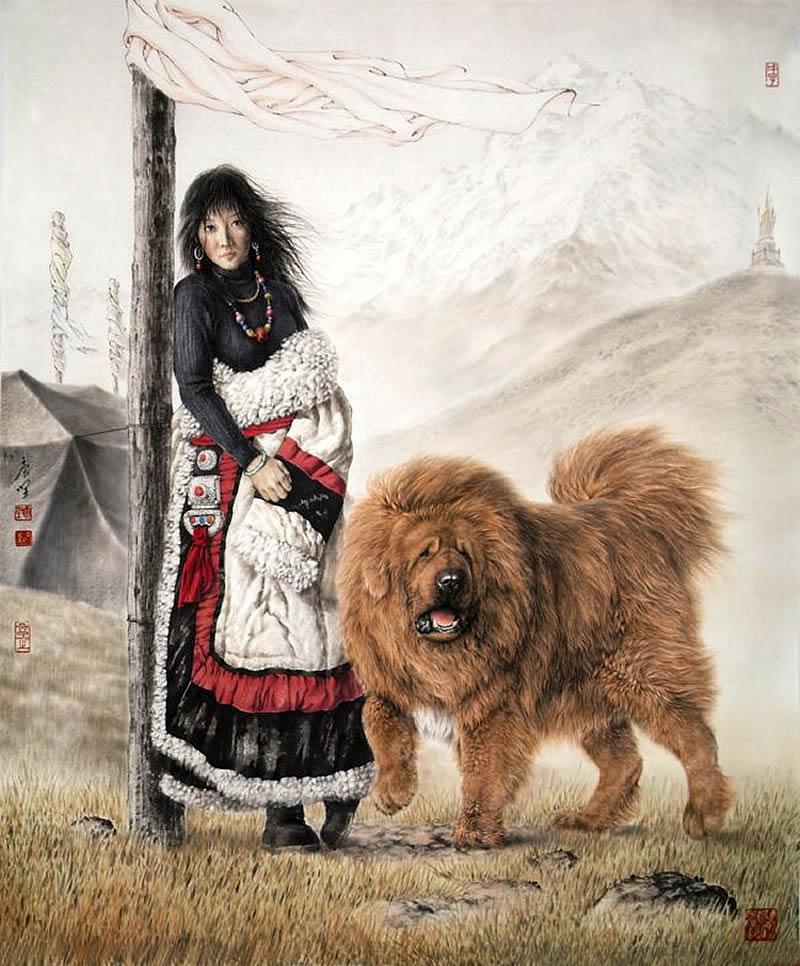 【国画】唐坚工笔画《雪域藏獒》 - 南安野叟 - 南安野叟的博客