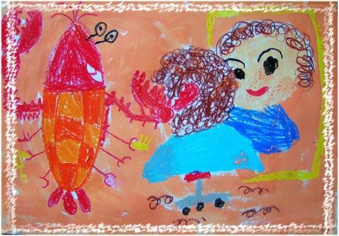 龙虾理发师 - 七彩城堡少儿美术工作室 - 七彩城堡