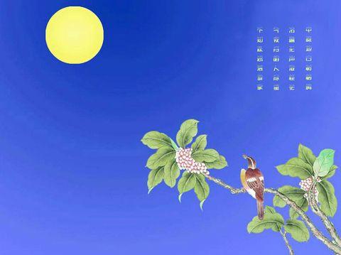 每当中秋月亮升起,于露天设案