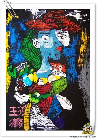 版画 临摹 毕加索作品 jinhuabi2007 金 画 笔 画 室高清图片