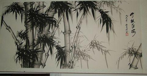 竹子钢笔手绘速写图