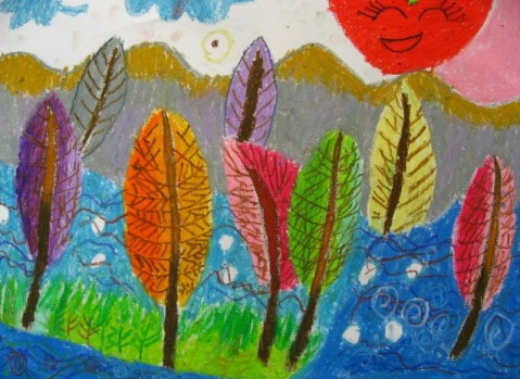 油画棒 2 树林的色彩