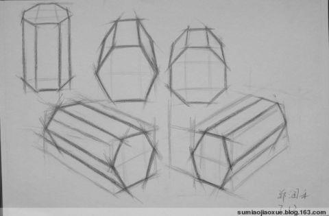 成角透视石膏体画法