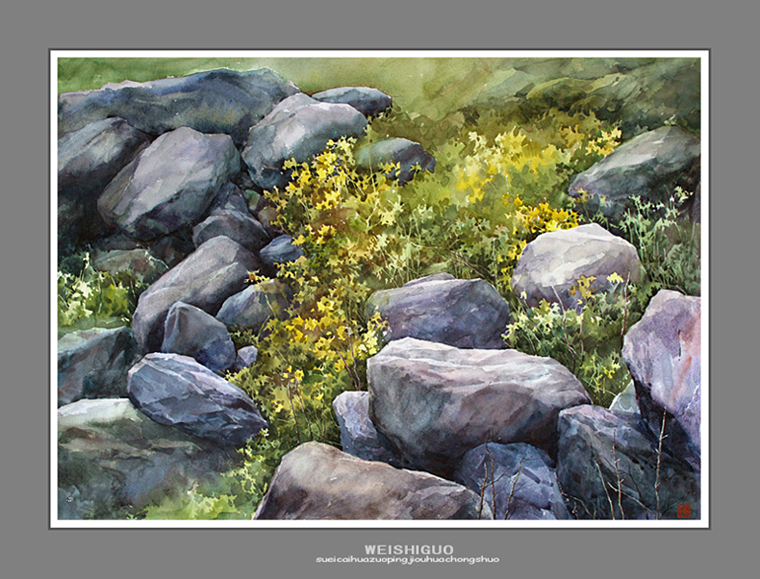 石头的水彩画法步骤