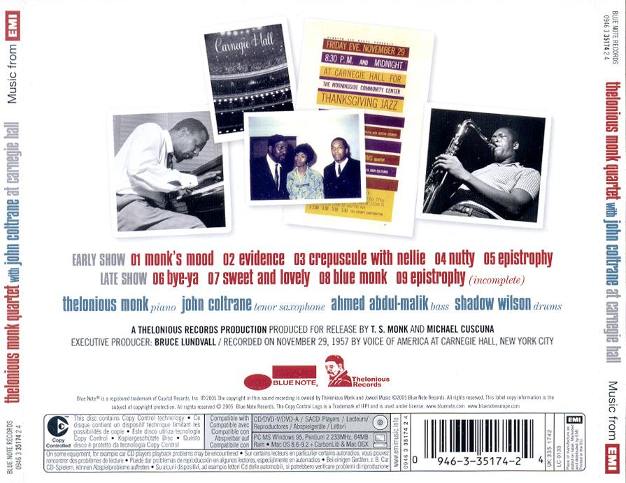 【爵士专辑】蒙克和约翰·柯川在卡内基音乐厅 - 故事里旅行 -