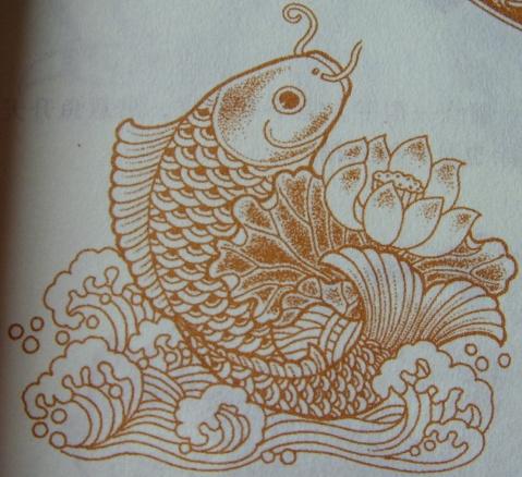鲤鱼作为吉祥图案出现,常寓意着吉利,富贵.图片