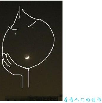 """月""""天象奇观,弯弯的月亮上方镶 宛如夜空里一张巨大的笑脸.其实"""