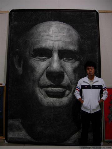 广西艺术学院雕塑二年级学生徐汉林的素描《毕加索》(这是高清图片