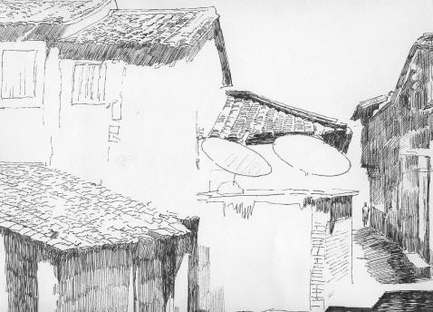 引用 土楼古民居钢笔风景画 - ccyy2671971 - 半杯沧海