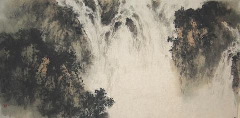 新创作一幅作品:石梁观泉瀑 - 抱青园主人--陈溪峋 - 陈溪峋--抱青园主人