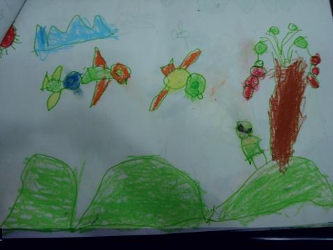 三岁儿童画画之荷花