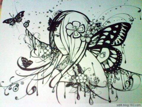 蝴蝶———黑白装饰画