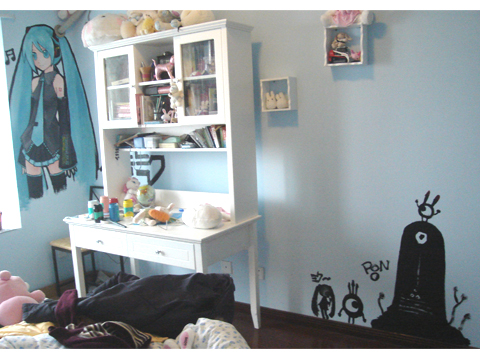 卧室壁画完成(miku+patapon) - 格兰诺兔 - 极地生物圈