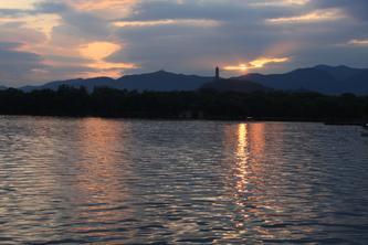 夕阳下的昆明湖