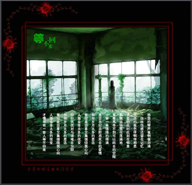 【醉心单曲】伤感而深情的女声吟唱「等..不回来」 - 西门冷月 -                  .