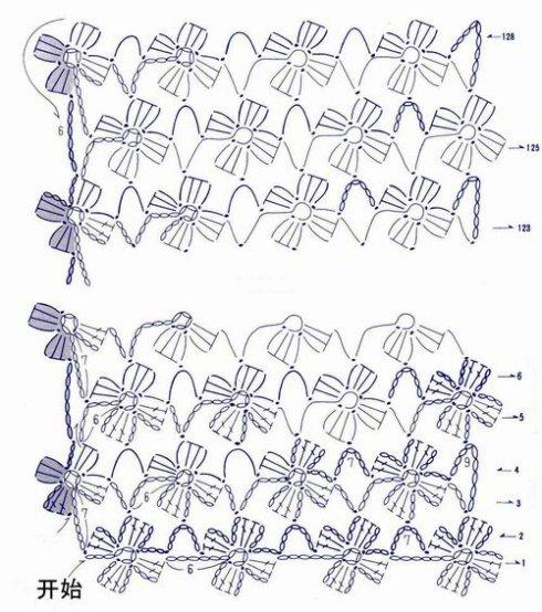 钩针编织教学(六)——连续花形长围巾(上)