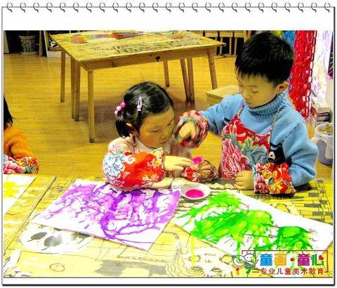 09春启蒙A班(周六下午)美术活动1——吹出桃树躲迷藏 - 童画-童心儿童美术 - 童画-童心儿童美术