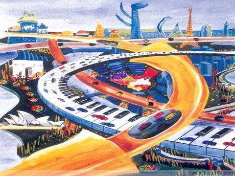 未来的桥 儿童画