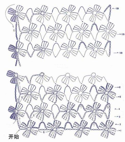 钩针编织教学(六)——连续花形长围巾(下)