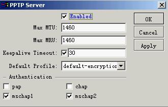 ROS PPTP VPN 设置