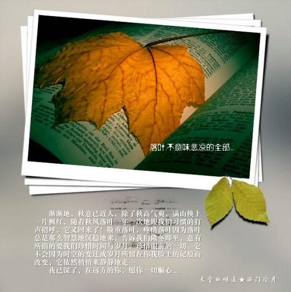 【天籁纯音】聆听秋的脚步《落叶》 - 西门冷月 -                  .