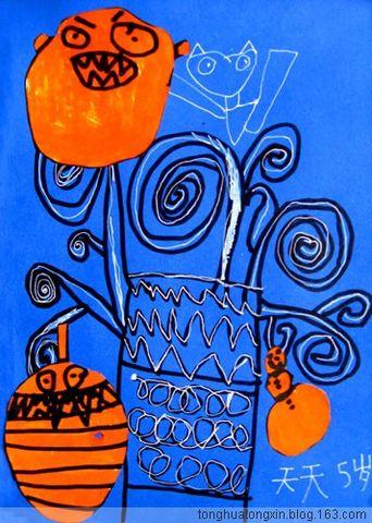 童画童心08秋季启蒙A班美术活动8——万圣节的南瓜灯树 - 童画-童心儿童美术 - 童画-童心儿童美术