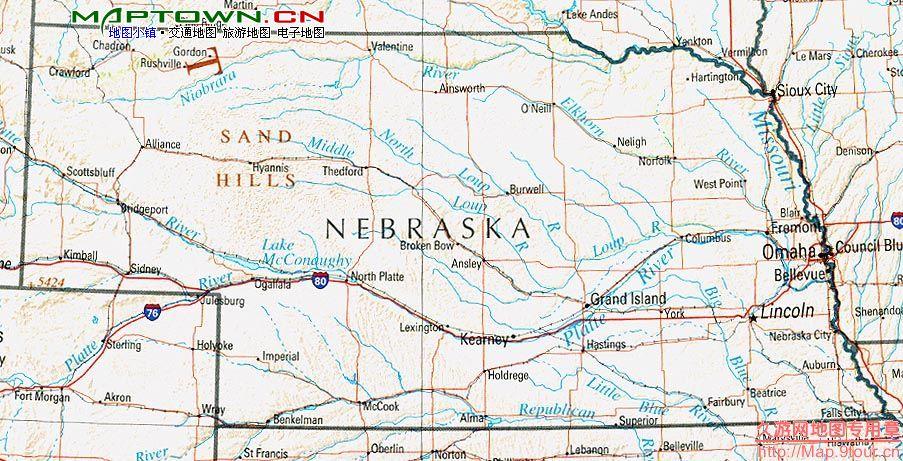 北美洲(North America): 美国内布拉斯加州(NE Nebraska)地图和经维度 - astrojina - AstroJina的星座世界